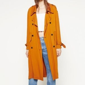 Zara Basic Outerwear Mustard Trench Coat Sz Large